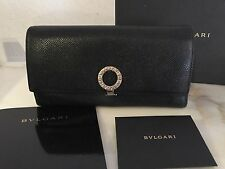 BVLGARI Woman Wallet Pochette Black Leather with invoice NP 450 �? />