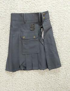Scottish Highland Men's Modern Utility Kilt Black Size 30 100% Cotton 1251