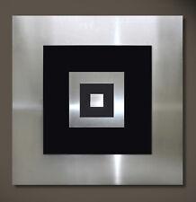 Original Abstracto Metal Mural Arte Moderno Diseño Negro Plata Ejemplar Único