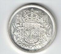 CANADA 1955 50 CENTS HALF DOLLAR QUEEN ELIZABETH II .800 SILVER COIN
