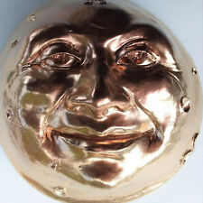 "6"" Wall Sculpture Figurine, Golden Moon Face, Original Home Decor by Claybraven"