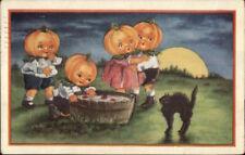 Halloween Pumpkin Head Kids Bobbing For Apples WHITNEY Postcard jrf