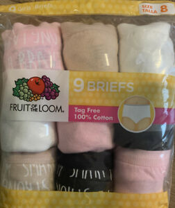 """GIRL'S NIP SIZE 8 """"FRUIT OF THE LOOM""""  9 PACK TAG FREE BRIEFS 100% COTTON"""