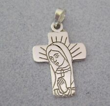 Mexican 925 Silver Taxco Our Lady Guadalupe Etched Small CROSS First Communion