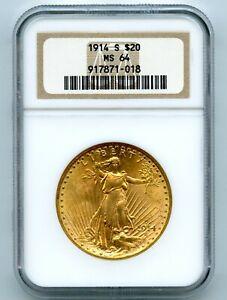 1914-S $20 Twenty Dollar Saint Gaudens Gold NGC MS64