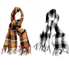 Traditional Winter Checked Scarf Black & White or Mustard Brown with Fringe
