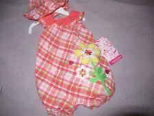 nwt Young Hearts orange plaid bubble romper sun hat set baby girl 6 m 9 m