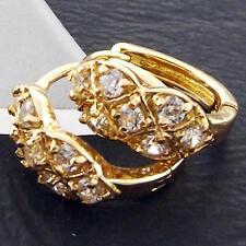 FS918 GENUINE 18K YELLOW G/F GOLD SOLID DIAMOND SIMULATED HUGGIE HOOP EARRINGS