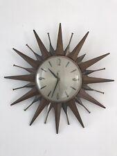 More details for vintage retro metamec sputnik sunburst starburst wall clock brass and teak