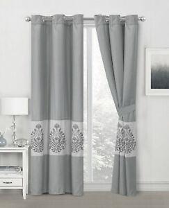 4-Pc Amelie Paisley Damask Floral Embroidery Curtain Set Gray Silver Sheer Liner