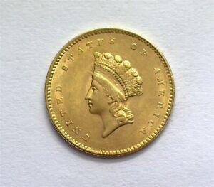 1854 INDIAN PRINCESS $1 GOLD TYPE 2 NEAR GEM UNCIRCULATED