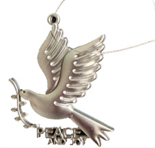 """New Metal Dove """"Peace And Joy"""" Christmas Tree Ornament Priests of the Sacred He"""