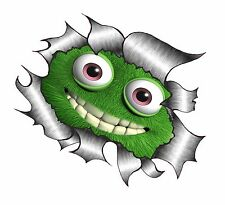 LARGE CLASSIC Ripped Torn Metal Rip Cute Fluffy GREEN Monster Smile Car sticker