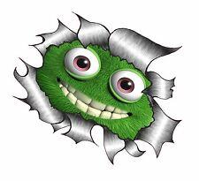 GRAND CLASSIQUE RIPPED TORN METAL Rip Mignon Moelleux Monstre Vert Sourire Autocollant Voiture