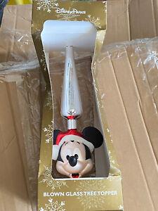 Disney Parks Christmas Tree Topper Blown Glass Mickey Mouse Santa Mickey Head