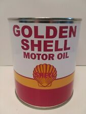 Vintage Golden Shell Motor Oil Can 1 qt. -  ( Reproduction Tin Collectible )