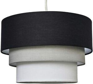 3 Tier Black, Grey and White Fabric Ceiling Designer Pendant Lamp Light Shade