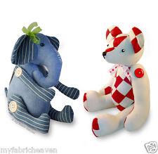2 X  Stuffed Toy Sewing PATTERNS, Denim Elephant & Patchwork Teddy Memory Bear