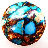 Sea Sediment Jasper & Gold Copper Bornite Stone Pendant Bead Jewelry 40*40*6mm