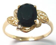 10KT YELLOW GOLD OVAL CUT BLACK SAPPHIRE & DIAMOND RING   SIZE 7   R995