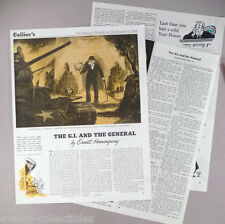 """""""The G.I. & The General"""" Short Story By Ernest Hemingway MAGAZINE ARTICLE - 1944"""