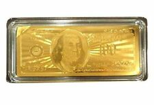 24K 99.9% Gold Plated $100 Bank Note w/Certificate/Paperweight - Nice Gift Item