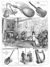 Historical Musical Instruments at the Inventions Exhibition - Antique Print 1885
