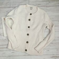 llbean womens sp white cardigan sweater button front 100% cotton basic