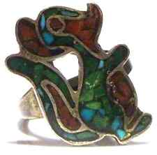 RARE NATIVE AMERICAN TURQUOISE CORAL CHIP STERLING SILVER SQUIRREL RING SIZE 7