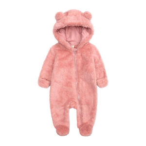 Newborn Baby Boy Girl Kids Hooded Romper Jumpsuit Bodysuit Bear Clothes Outfits