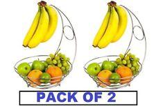 2 in 1 Kitchen Fruit Veg Basket Bowl Banana Hook Hanger Chrome Tree Storage