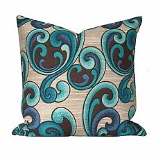 "Groovy 70s Blue Psychedelic Vintage Fabric 16"" Cushion Cover VW"