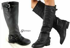 NEW Women's Knee High Riding Motorcycle Boots Flat Military Shoes Zip Size 5-10