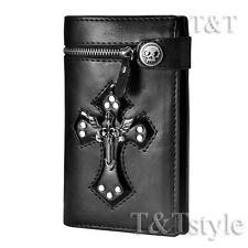 T&T Punk Black Leather Angel Wing Cross Wallet Medium Size H14E