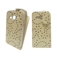 CASE FOR SAMSUNG GALAXY ACE 3 GLITTER FLIP PU LEATHER IN WHITE POUCH PHONE COVER