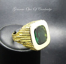 Rare Vintage 1970's Heavy 18ct Gold Gents Tourmaline Ring Size N 1/2 18.6g