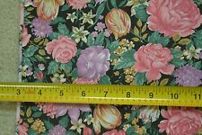 "By-the-Half-Yard, 45"" Wide, Bright Floral on Black Cotton, M3764"