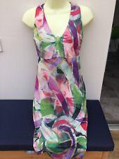 Pure Silk Dress Hippy Geometric Pattern Multi Lined Midi Italian 12 VGC