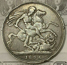 1896-LX Great Britain One Crown Silver Coin (3rd Portrait) Queen Victoria .925Ag