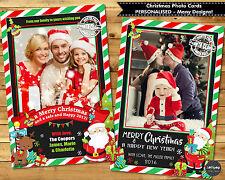 CHRISTMAS PHOTO GREETING CARDS PERSONALISED CUSTOM SANTA SNOWMAN