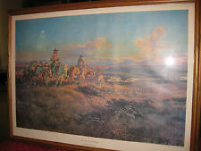 """Large Charles M. Russell Framed Print  """"Where guns were Their Passports"""" 1959"""