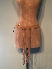 "VINTAGE RIVER ISLAND BEIGE SUEDE BELT WITH BRASS RINGS - 32"" +15 1/2""  FRINGE"