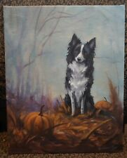 OriginAl Oil Painting~Border Collie~Dog~Whimsical~Hand painted~Pumpkin~Fall