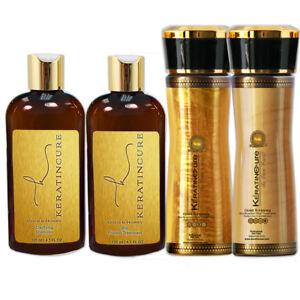 Keratin Cure Gold & Honey Bio 4 Piece Kit 4-5oz Protein Silky Soft SmoothingHair