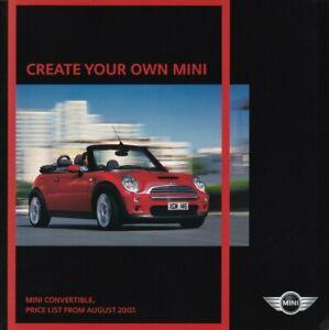 Mini Convertible One/Cooper/Cooper S/Sidewalk Price List Brochure From Aug 2007