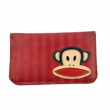 PAUL FRANK Womens Striped Julius Red Bifold Wallet Check Book Holder Monkey