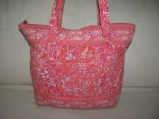 VERA BRADLEY Large Pink Quilted Satchel Shopper Tote Hobo Purse Shoulder Bag