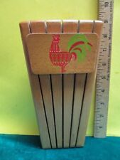 Vintage Wooden Rooster Knife Holder Wall Block, Holds Up To 5 Knives