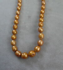 "FRESH WATER GOLDEN ROD COLOR PEARL NECKLACE 17"" GRADUATED SIZES"