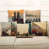Cotton Linen Sunset Building Pillow Case Waist Throw Cushion Cover Home Decor